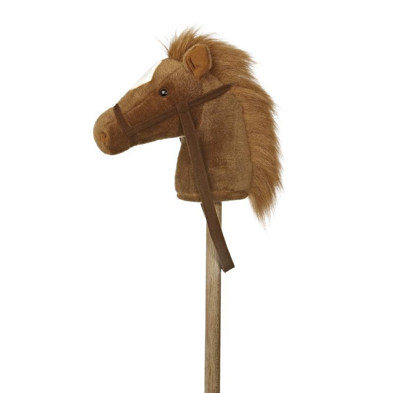 Pluche stokpaardje van een bruine pony met geluid 94 cm