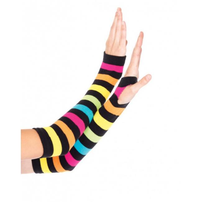 Regenboog handschoenen zonder vingers (bron: Feestwinkel Fun en Feest)