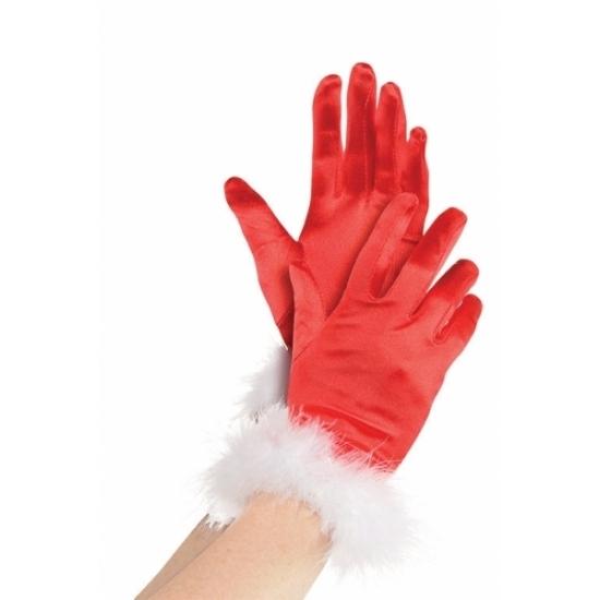 Rode kerst handschoenen voor vrouwen (bron: Feestwinkel Fun en Feest)