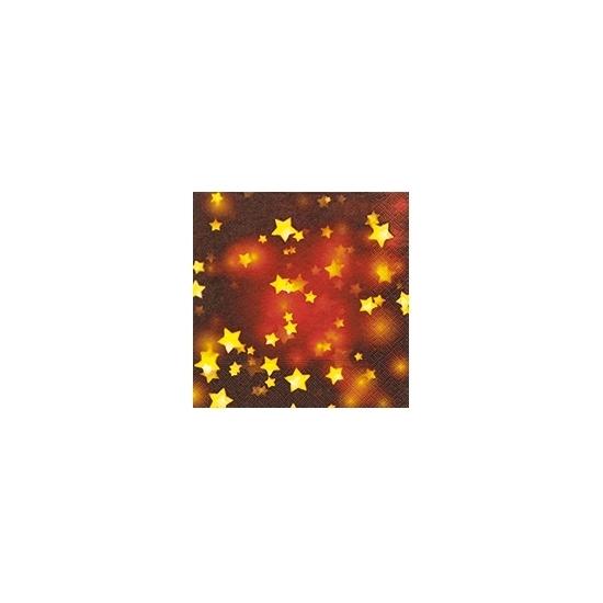 Rode kerst servetten met gouden sterren (bron: Feestwinkel Fun en Feest)