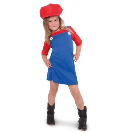 Rode loodgieter outfit voor meisjes (bron: Feestwinkel Fun en Feest)