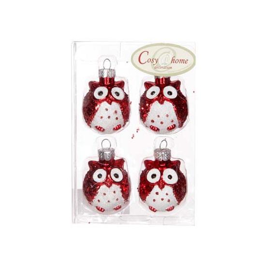 Rode uilen kerstballen 4 stuks (bron: Feestwinkel Fun en Feest)