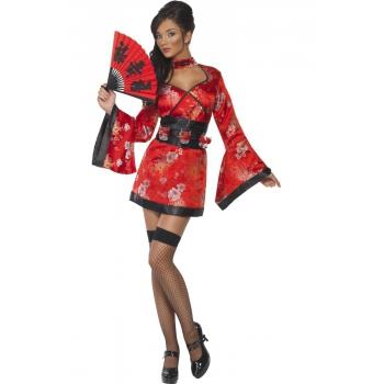 Rood Geisja jurkje met shotglas riem