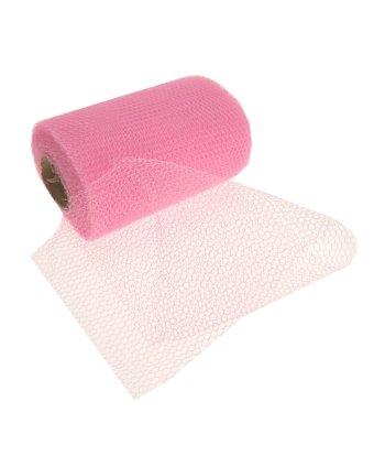 Roze gaas stof op rol (bron: Feestwinkel Fun en Feest)