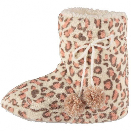 Roze luipaard print sloffen voor dames (bron: Feestwinkel Fun en Feest)
