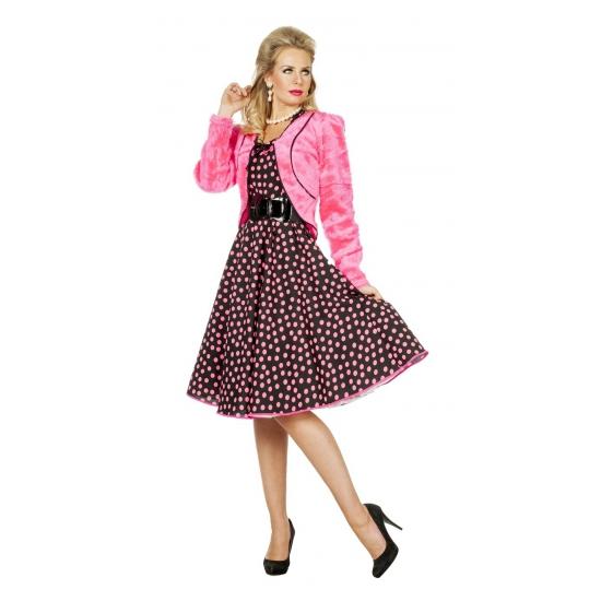 Roze nepbonten jasje voor dames (bron: Feestwinkel Fun en Feest)