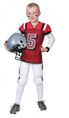 Rugby kostuum rood met wit voor kids (bron: Feestwinkel Fun en Feest)