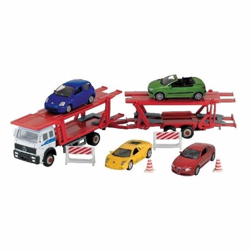WellySpeelgoed vrachtwagen met autootjes op aanhanger 1