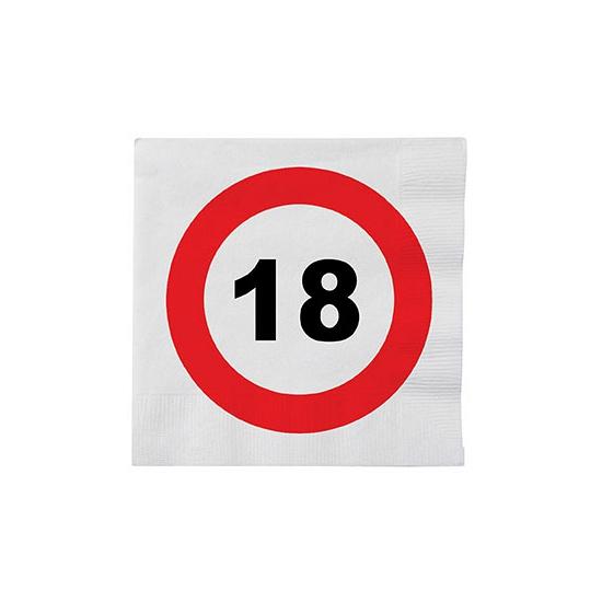 Stopbord servetjes 18 jaar 16 stuks (bron: Feestwinkel Fun en Feest)