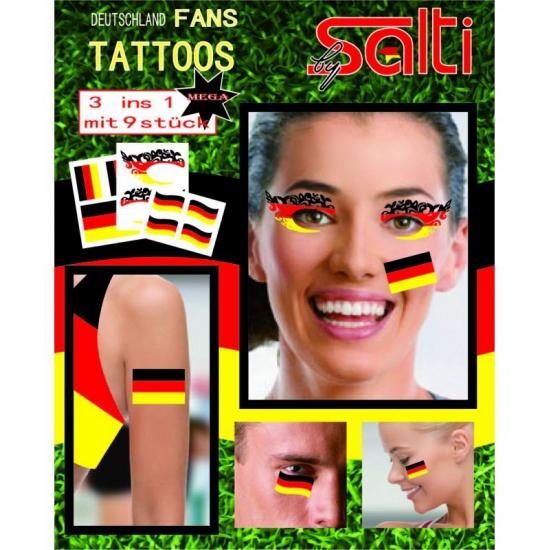 Tatoeages Duitsland 9 stuks (bron: Feestwinkel Fun en Feest)