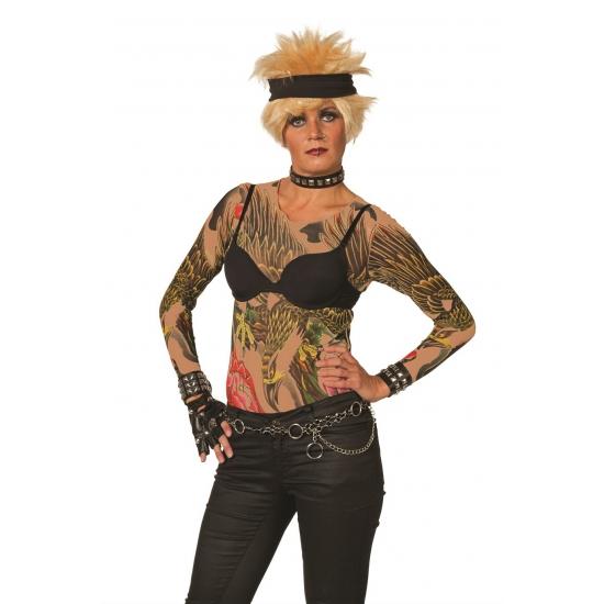 Tattoo T Shirt Voor Dames Stoer Huidskleurig Met Bedrukking