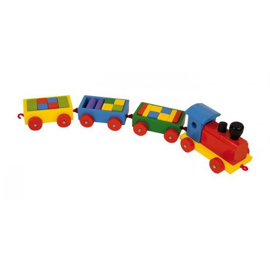 Transport treintje van hout 63 cm