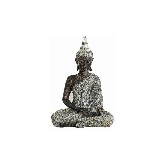 Tuindecoratie Thaise Boeddha beeld grijs 33 cm