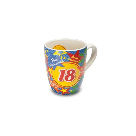 Verjaardags mok 18 jaar (bron: Feestwinkel Fun en Feest)