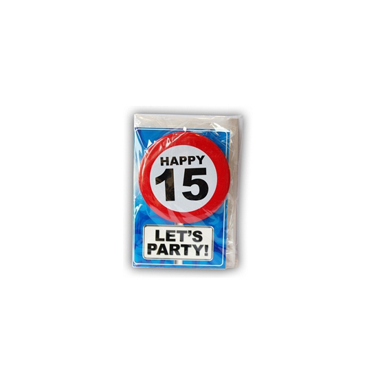 Verjaardagskaart 15 jaar (bron: Feestwinkel Fun en Feest)