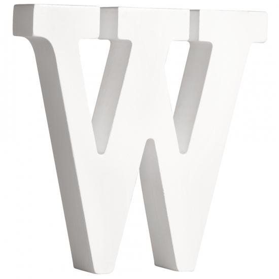 Witte houten letter W 11 cm (bron: Feestwinkel Fun en Feest)