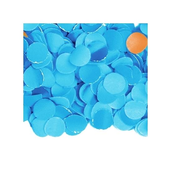 Zakje met 100 gram blauwe confetti (bron: Feestwinkel Fun en Feest)