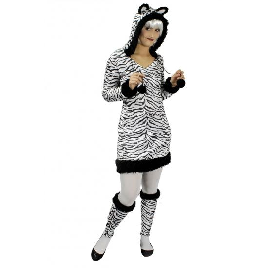Zebra jurk met capuchon en oren incl. beenwarmers
