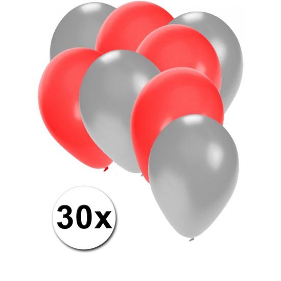 Zilveren en rode ballonnen 30 stuks