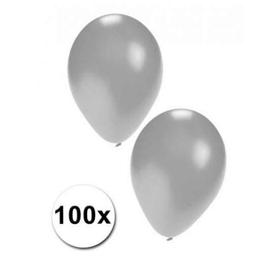 Zilveren feest ballonnen 100 stuks