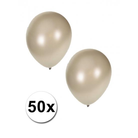 Zilveren grote ballonnen 50 stuks