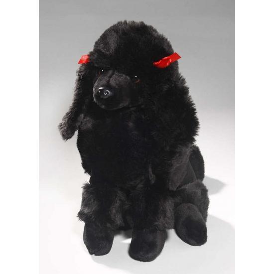 Zittende zwarte Poedel knuffel dier 30 cm (bron: Feestwinkel Fun en Feest)