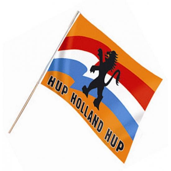 Zwaaivlag met Hollandse leeuw (bron: Feestwinkel Fun en Feest)