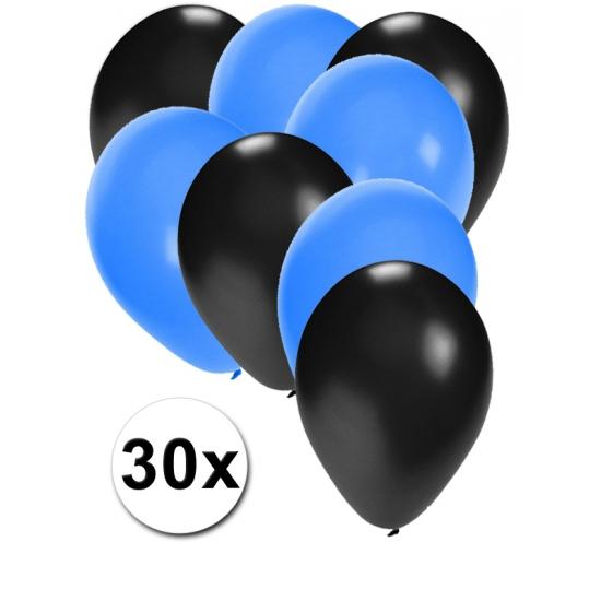 Zwarte en blauwe ballonnen 30 stuks