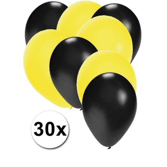 Zwarte en gele ballonnen 30 stuks