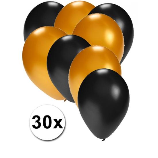 Zwarte en gouden ballonnen 30 stuks
