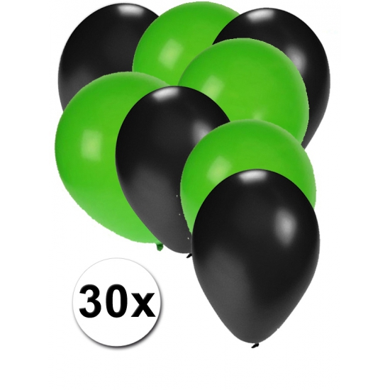 Zwarte en groene ballonnen 30 stuks (bron: Feestwinkel Fun en Feest)