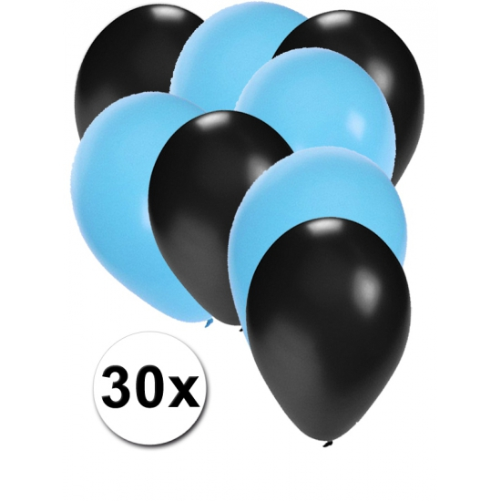 Zwarte en lichtblauwe ballonnen 30 stuks