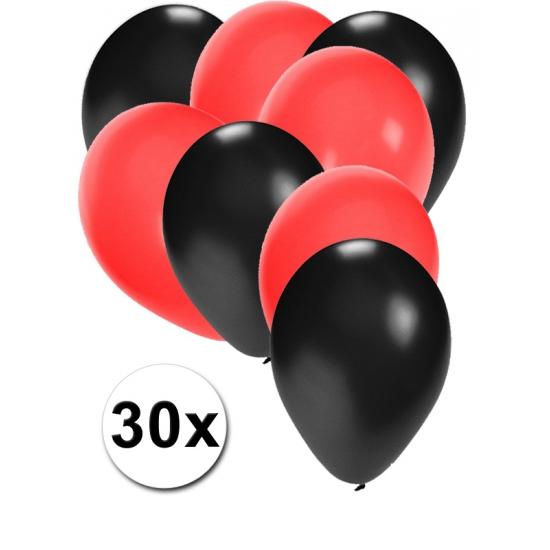 Zwarte en rode ballonnen 30 stuks