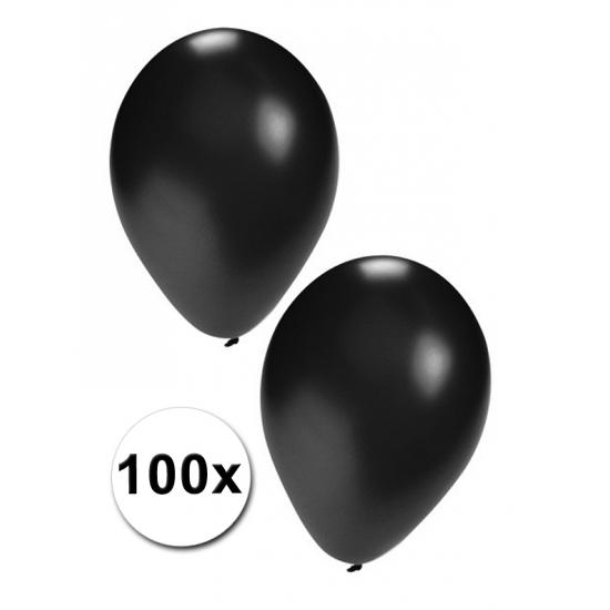 Zwarte feest ballonnen 100 stuks