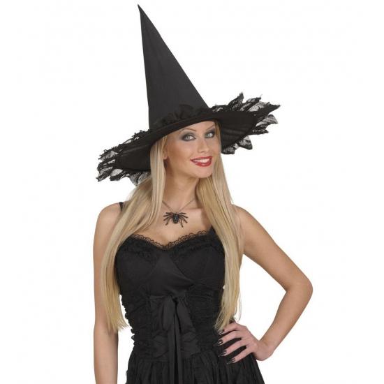Zwarte heksen ketting met spin (bron: Feestwinkel Fun en Feest)