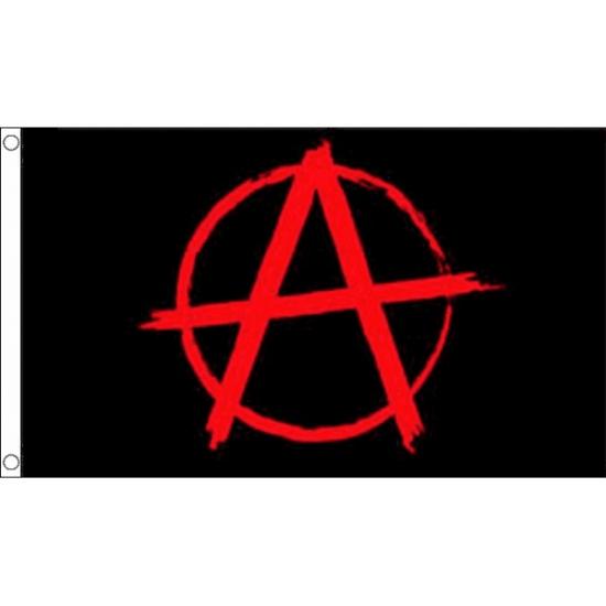 Zwarte met rode Anarchie vlag (bron: Feestwinkel Fun en Feest)