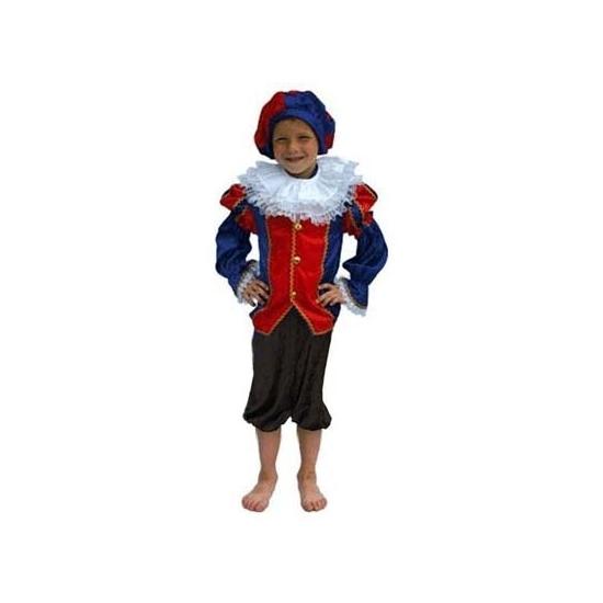 Zwarte Piet pak blauw/zwart kinderen (bron: Feestwinkel Fun en Feest)