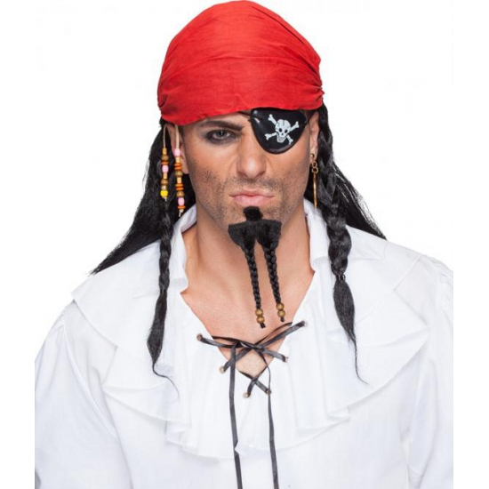 Zwarte piraten pruik met bandana (bron: Feestwinkel Fun en Feest)
