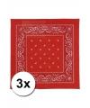 3 rode boerenzakdoeken 50 x 50 cm