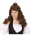 Bruine damespruik met knot bovenop