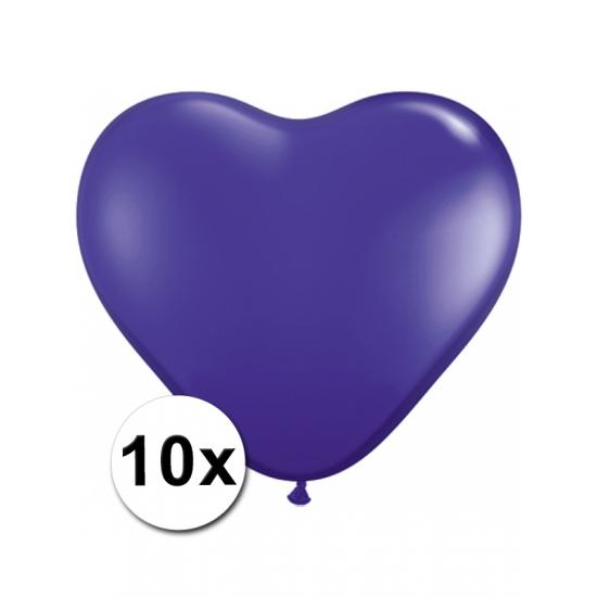 10x Hart ballonnen paars