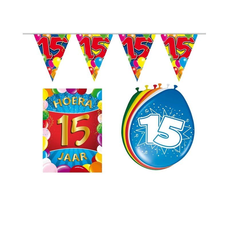 15 jaar geworden feestartikelen voordeel pakket Multi