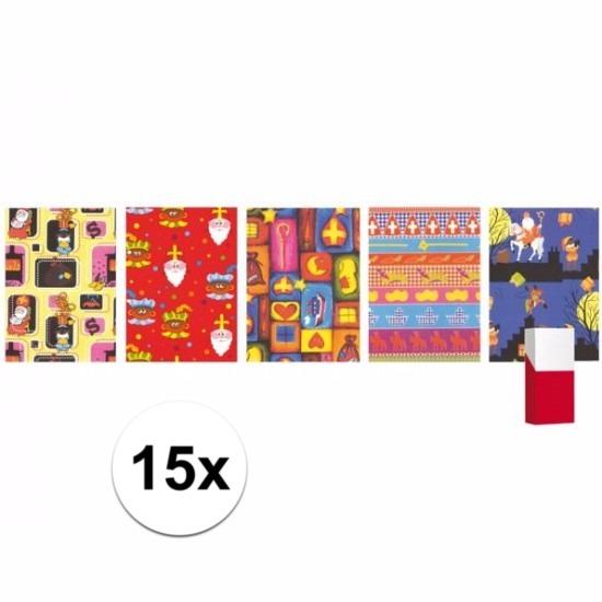 15 rollen Sinterklaas inpakpapier / cadeaupapier Multi