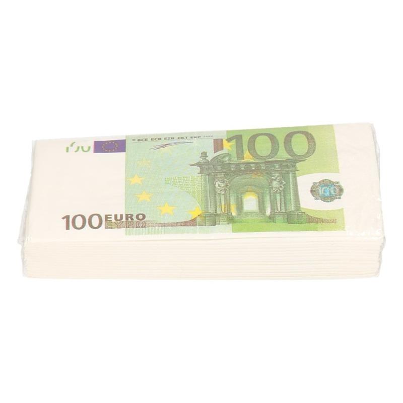 16x stuks 100 euro geld servetten 3 laags Multi