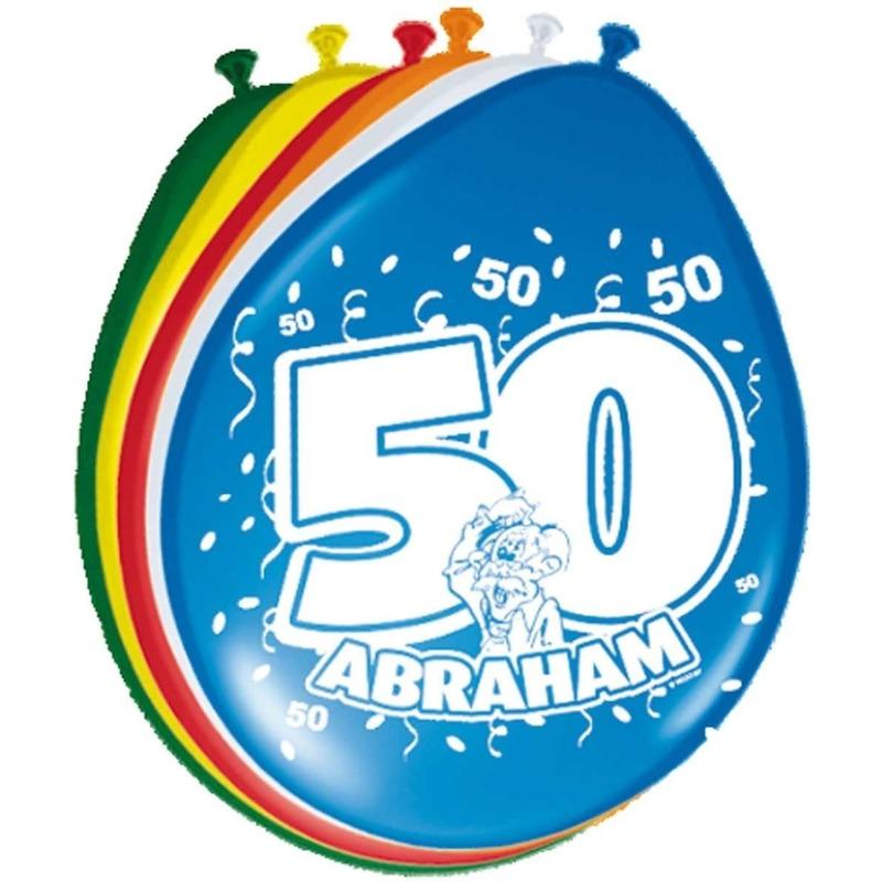 16x stuks Leeftijd ballonnen versiering 50 jaar Abraham Multi