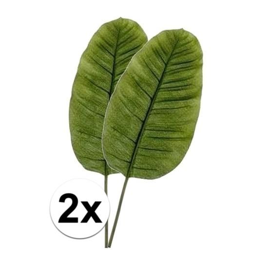 2 x Kunstbloemen tak groene bananen blad 92 cm Groen
