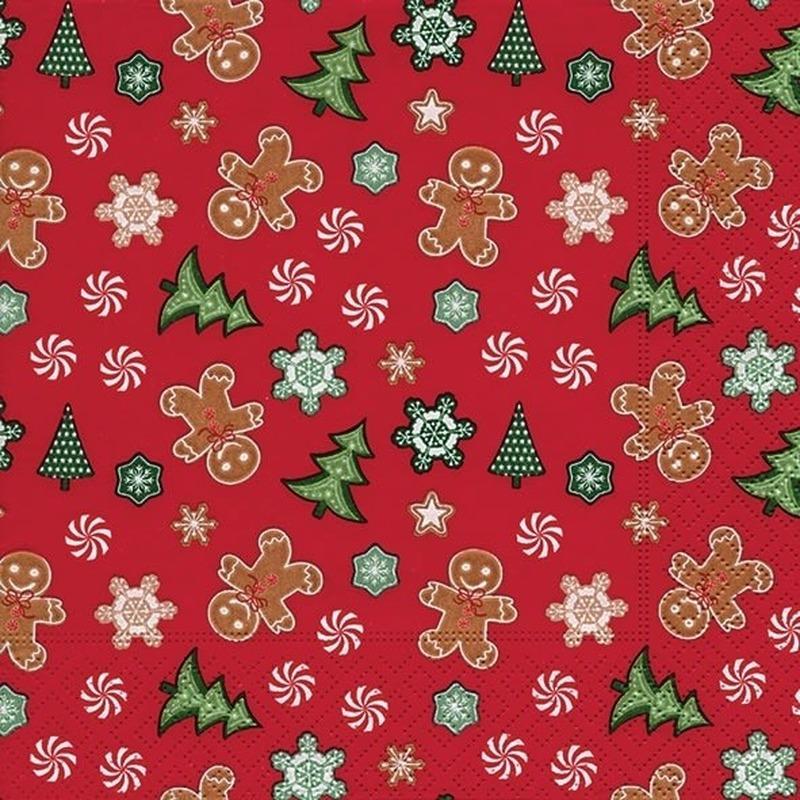 20x Kerst servetten rood 33 cm peperkoek/gingerbread/kerstboom print Rood