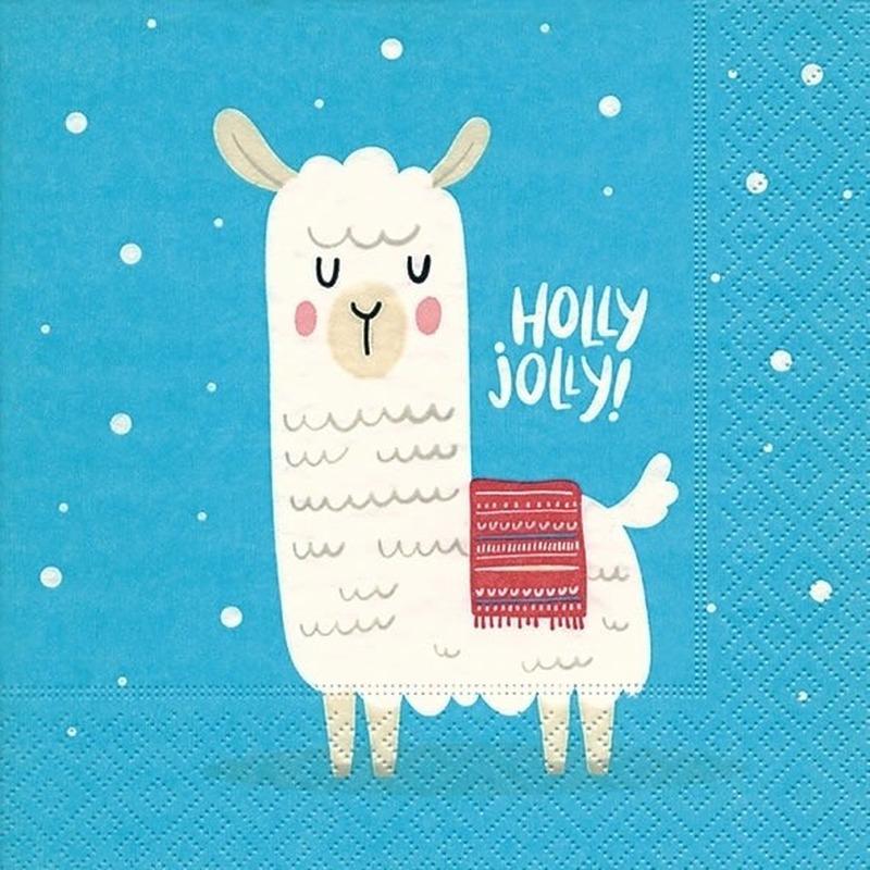 20x Lamas/alpacas Kerst servetten blauw 33 cm Holly Jolly Blauw
