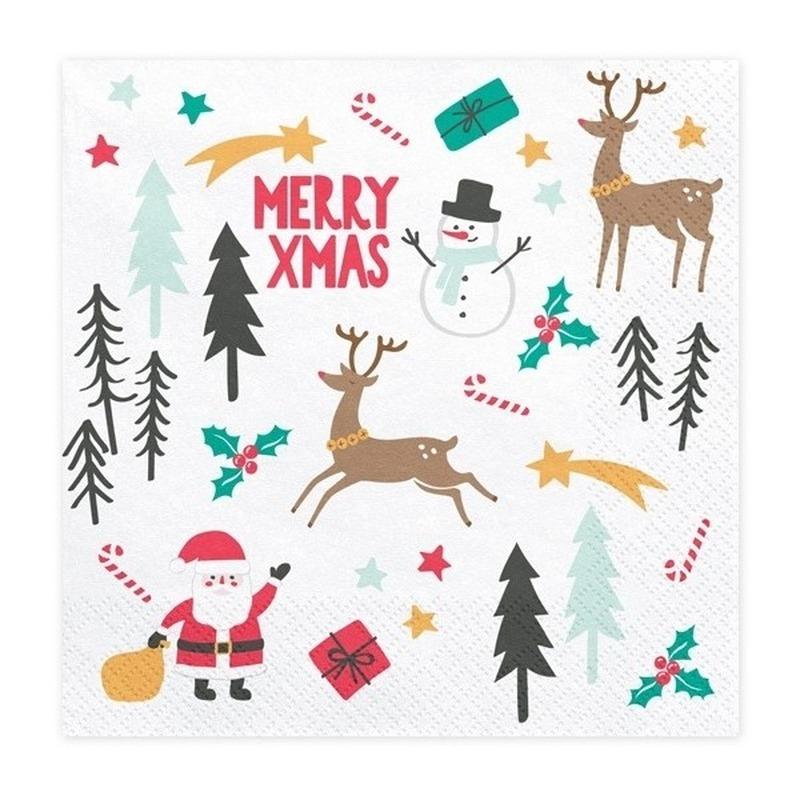 20x Merry Xmas kerstservetten 33 cm Wit