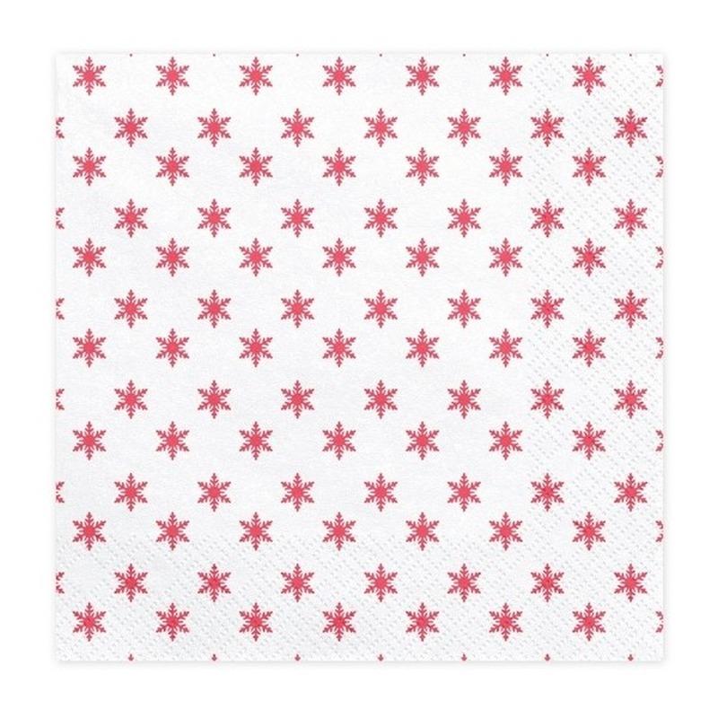 20x Ster kerstservetten 33 cm Wit
